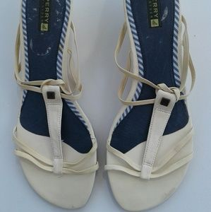 Sperry Top Sider White Leather Sandals 10 W
